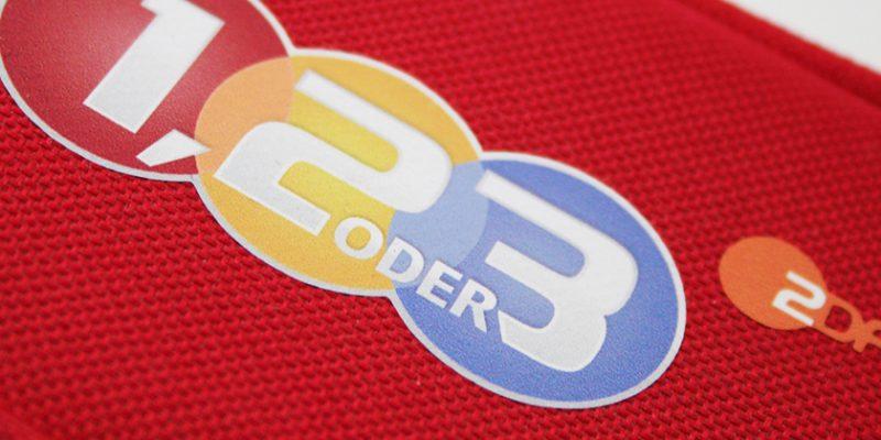 """ZDF – Merchandising-Artikel für die Sendung """"1,2 oder 3″"""